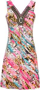 Sukienka bonprix BODYFLIRT boutique z dekoltem w kształcie litery v trapezowa midi