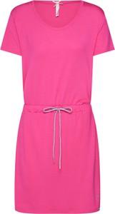 Różowa sukienka Key Largo w stylu casual z dżerseju z okrągłym dekoltem