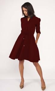 Czerwona sukienka Lanti z długim rękawem w stylu klasycznym midi