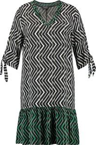 Sukienka Samoon prosta z długim rękawem z okrągłym dekoltem