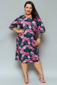 Sukienka KARKO z tkaniny z dekoltem w kształcie litery v