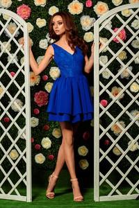 Niebieska sukienka Lemoniade z dekoltem w kształcie litery v rozkloszowana mini