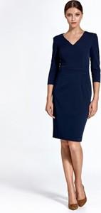 Granatowa sukienka Colett z długim rękawem