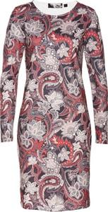 Brązowa sukienka bonprix bpc selection z okrągłym dekoltem dopasowana midi