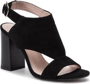 Czarne sandały Lasocki z klamrami na wysokim obcasie na obcasie