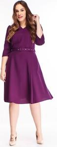 Fioletowa sukienka N/A z długim rękawem dla puszystych midi