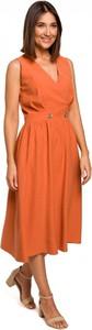 Pomarańczowa sukienka Style z dekoltem w kształcie litery v w stylu casual