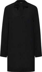 Czarna bluzka Opus z długim rękawem z szyfonu