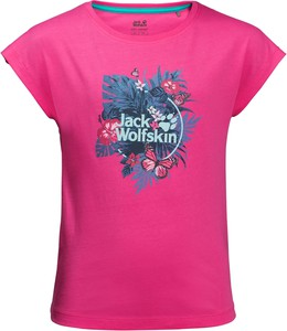 Różowa koszulka dziecięca Jack Wolfskin w kwiatki
