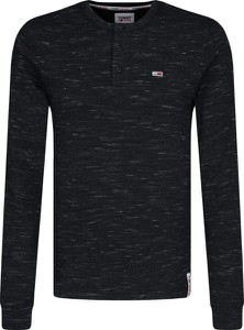 Czarna koszulka z długim rękawem Tommy Jeans w stylu casual z długim rękawem z bawełny