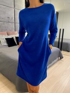 Niebieska sukienka ModnaKiecka.pl z długim rękawem z jeansu