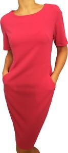 Czerwona sukienka modnakiecka.pl w stylu casual midi na co dzień