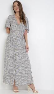 Niebieska sukienka born2be maxi z krótkim rękawem