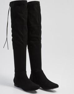 Czarne kozaki diversesystem sznurowane w stylu casual za kolano
