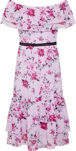 Fioletowa sukienka S.Oliver Black Label midi z krótkim rękawem
