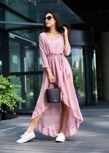 Różowa sukienka Ligari Dresses z dekoltem w kształcie litery v asymetryczna maxi