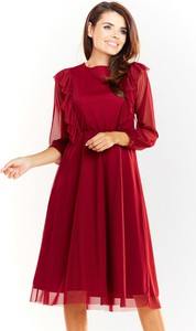 Sukienka Awama z okrągłym dekoltem z długim rękawem