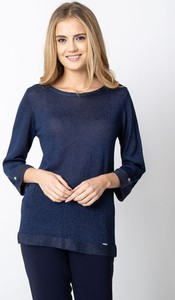 Granatowy sweter QUIOSQUE w stylu casual
