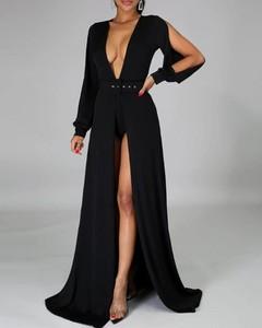 Sukienka Kendallme z długim rękawem maxi z dekoltem w kształcie litery v