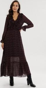 Czarna sukienka born2be maxi z długim rękawem