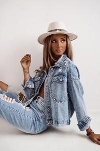 Niebieska kurtka Shopaholics Dream z jeansu w młodzieżowym stylu