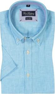 Niebieska koszula Tom Rusborg z krótkim rękawem z lnu z klasycznym kołnierzykiem