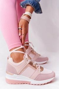 Różowe buty sportowe Ps1 sznurowane z płaską podeszwą w sportowym stylu