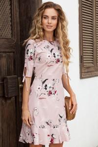 Sukienka MOE z okrągłym dekoltem mini z tkaniny