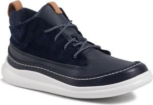 Granatowe buty dziecięce zimowe Clarks sznurowane