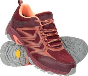 Czerwone buty trekkingowe Mountain Warehouse sznurowane z płaską podeszwą