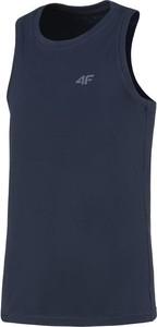 Niebieski t-shirt 4F z krótkim rękawem z tkaniny w sportowym stylu