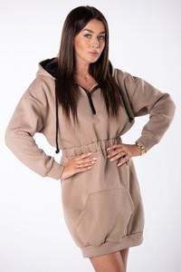 Brązowa sukienka Ptakmoda.com prosta z długim rękawem