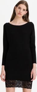 Czarna sukienka Guess z okrągłym dekoltem mini z długim rękawem