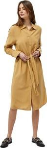 Żółta sukienka Minus midi z kołnierzykiem z długim rękawem