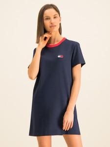 Granatowa sukienka Tommy Jeans prosta z okrągłym dekoltem z krótkim rękawem