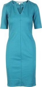 Niebieska sukienka Diane Von Furstenberg Vintage z krótkim rękawem z dekoltem w kształcie litery v