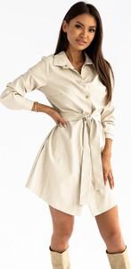 Sukienka Ptakmoda.com mini ze skóry ekologicznej koszulowa