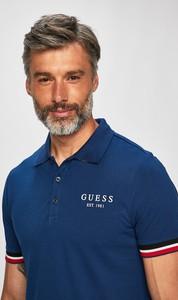 Niebieska koszulka polo Guess Jeans z krótkim rękawem