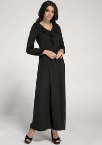 Czarna sukienka Nommo maxi z długim rękawem