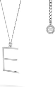 GIORRE Srebrny naszyjnik z literką, alfabet, srebro 925 : Kolor pokrycia srebra - Pokrycie Jasnym Rodem, Litera - E