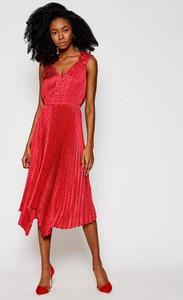 Sukienka Guess midi z dekoltem w kształcie litery v bez rękawów