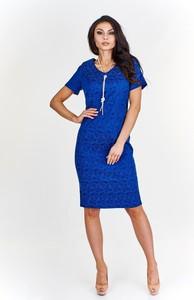 Niebieska sukienka Fokus w stylu klasycznym z żakardu midi