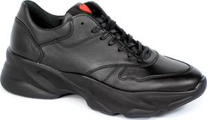 Czarne buty sportowe CheBello w sportowym stylu ze skóry