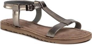 Srebrne sandały Marco Tozzi z płaską podeszwą z klamrami w stylu casual