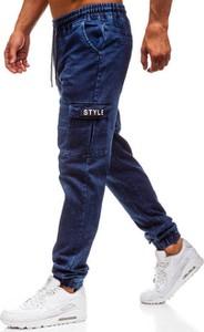 Granatowe jeansy Denley z bawełny w sportowym stylu