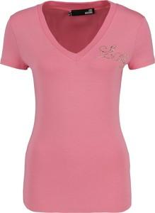 Różowa bluzka Love Moschino z dekoltem w kształcie litery v