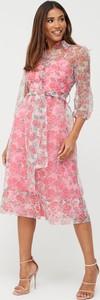 Różowa sukienka V by Very z długim rękawem