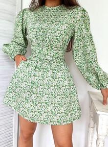 Zielona sukienka Ottanta z bawełny z długim rękawem z okrągłym dekoltem