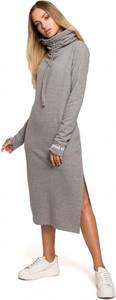 Sukienka MOE z bawełny z golfem z długim rękawem