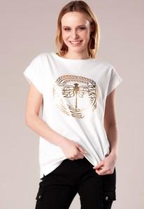 Bluzka Ptakmoda.com z nadrukiem z okrągłym dekoltem z tkaniny